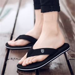 New men's slippers flip flops slip Casual sandals black 40