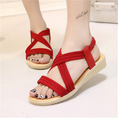 New Women's Simple Flat-soled Sandals Pure-color Leisure Slippers red 38