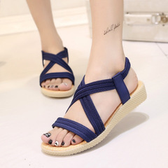 New Women's Simple Flat-soled Sandals Pure-color Leisure Slippers blue 37