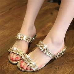 New women Leaves Style Rhinestone Sandals Summer Party Low Heel Shoes golden 38
