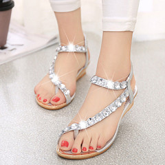 New sandals female flat bottom  beach shoes Bohemian wedge with women's slippers silver 38