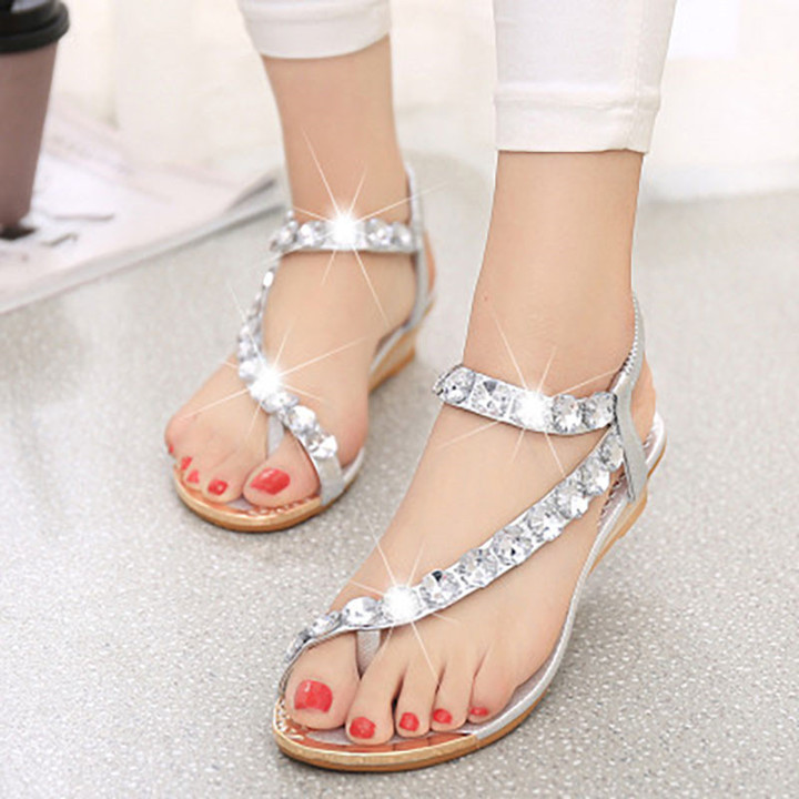 New sandals female flat bottom  beach shoes Bohemian wedge with women's slippers silvery 38