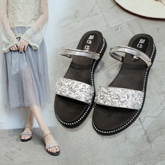 New Women's Flat-soled Slope-heeled Casual Sandals Low-heeled Sequins Two-Wear Slippers silver 37