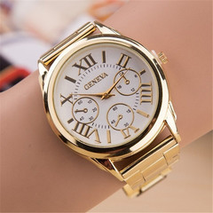 New  watch Women Fashion  Gold Geneva Watches Casual Stainless Steel Dress Wristwatches gold onesize
