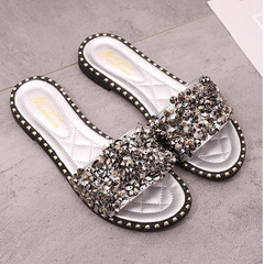 New fashionable women's diamond sandals and slippers white 38
