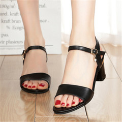 New style of women's sandals with thick heels and open toes  High-heeled shoes black 38