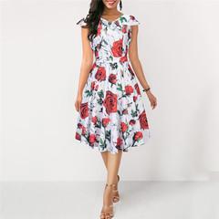 New Women's Dresses Retro Hepburn Wind Printed Dresses l white