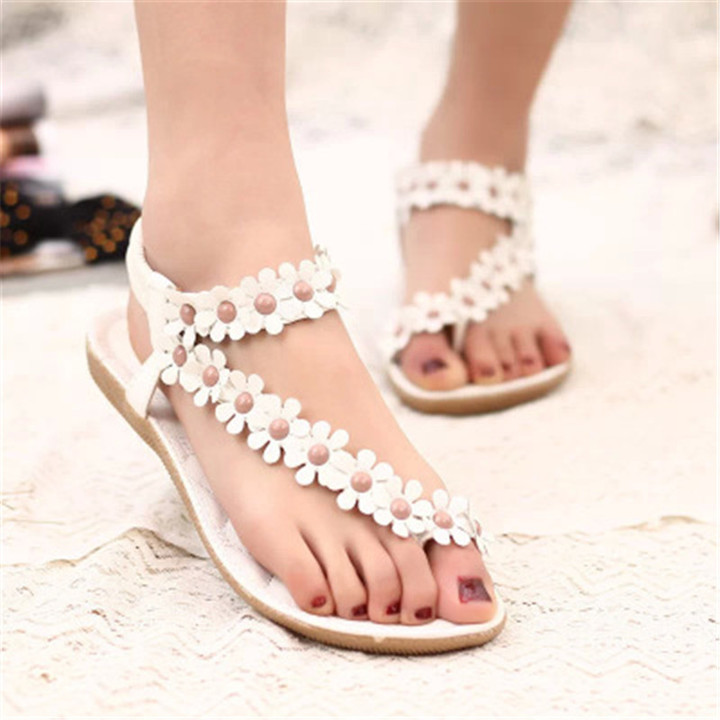 New ladies sandals toe flowers casual flat shoes women's flat slippers shoes white 40