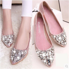 New women's diamond transparent pointed shallow flat sole sandals shoes pink 36