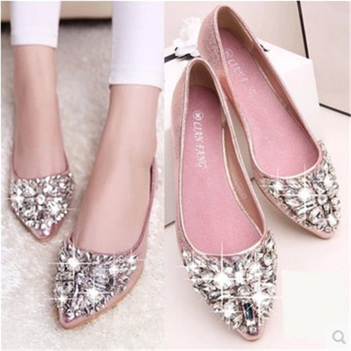 New women diamond transparent pointed shallow flat sole sandals shoes  slippers pink 36