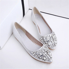 New women diamond transparent pointed shallow flat sole sandals shoes  slippers silvery 36