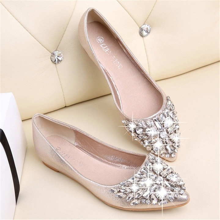 New women diamond transparent pointed shallow flat sole sandals shoes  slippers golden 39