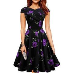 New Women's Fashion Retro Dresses Skirt Flower Printing Party Dresses xl black&purple