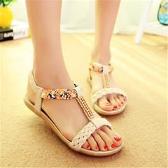 New Women Flat Bottom Water Drill Bohemian Open-toed Flat-heeled Sweet Sandals white 37