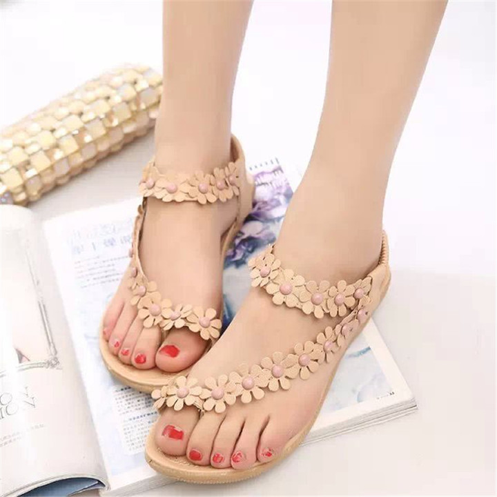 New ladies sandals toe flowers casual flat shoes women's flat slippers shoes brown 41