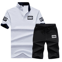 New Men T-shirt Casual Pure-color Printed V-neck Suit Sports Short Sleeves and Trousers white m cotton