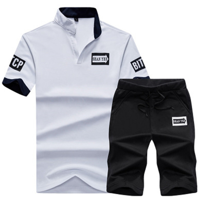 New men tshirts Casual Pure-color Printed V-neck Suit Sports Short Sleeves and trousers  pants white xxxl cotton
