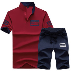 New men tshirts Casual Pure-color Printed V-neck Suit Sports Short Sleeves and trousers  pants red xl cotton