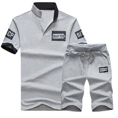 New men tshirts Casual Pure-color Printed V-neck Suit Sports Short Sleeves and trousers  pants gray xl cotton