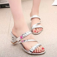 New fashionable ladies'diamond sandals women's middle heel sandals silvery 40