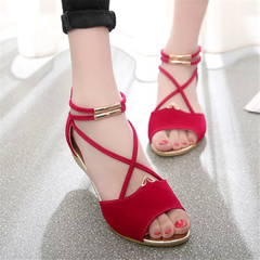 New style ladies'sandals shoes straps women round head simple low-heeled women slippers red 36