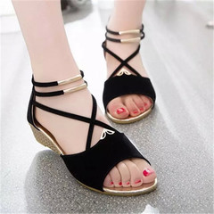 New style ladies'sandals shoes straps women round head simple low-heeled women slippers black 38