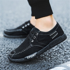 New Fashion Men's Jeans Canvas Shoes  Leisure Sports Shoes Low Upper Cloth Shoes black 43