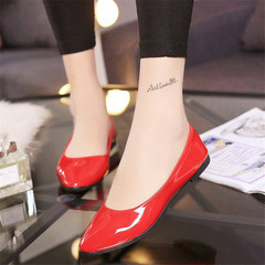 New ladies casual shoes women  shoes fashion leather flat with flat shoes red 36
