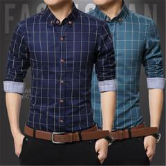 New fashion men  plaid shirt cotton casual thick long-sleeved men's shirts brack M