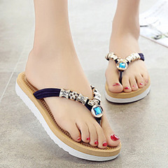 New fashion women Flat-soled sandals Leisure Herringbone slippers shoes dark blue 36