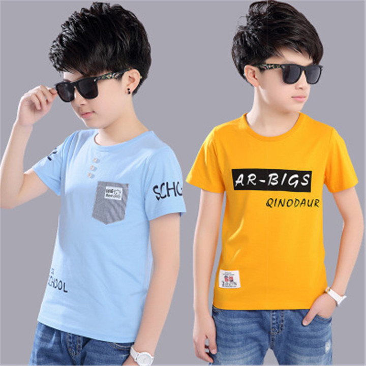 New fashion boy sports and leisure cotton short-sleeved T-shirt blue 110 cotton