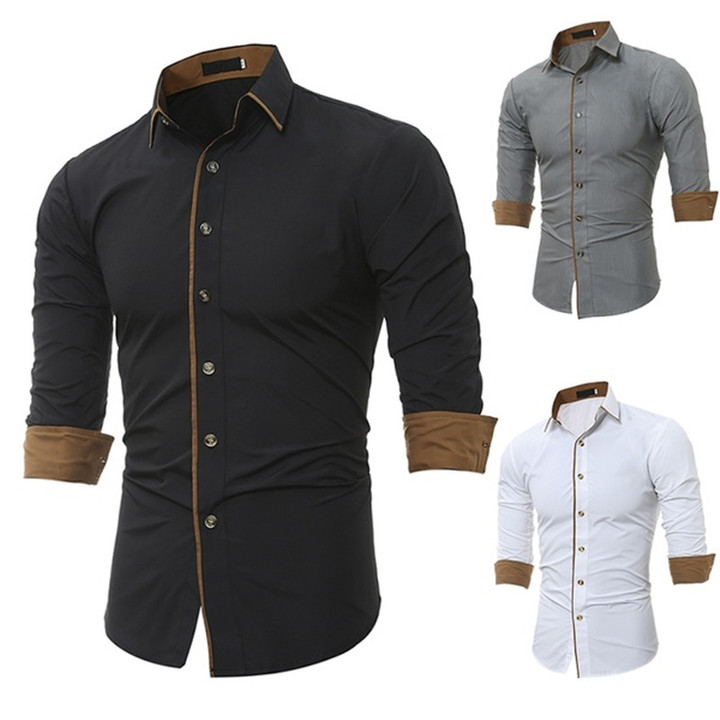 New Simple Business Men's Shirt Long-sleeved Cotton Shirt Men's Casual Solid Color Slim Shirts black M