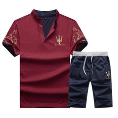 New men's Casual Suit Two-piece Short-sleeved tshirts and Short Pants tshirt shirts red 2XL