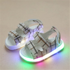 New children's LED Lighting children's shoes Boys'and Girls' sandals Colour Luminescent  Slippers gray 21