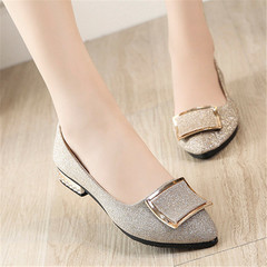 New ladies'shoes with Shallow Flat Bottom and Recreational heels women sandals slippers golden 36