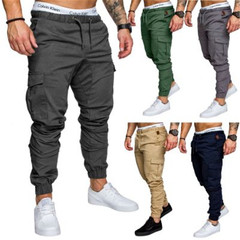 New men's multi-pocket trousers men's casual trousers gray M