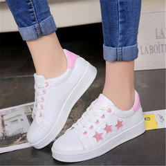 New Ladies'Sports Shoes with Sequined Pentagonal Galaxy Belts and Coloured White Shoe Slippers pink 36