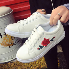New Women's Flower Canvas Shoes Leisure Shoes Sports Shoes white 36
