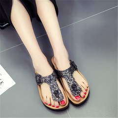 New Fashion Ladies Roman Shoes Braided Belt Flat Bottom Women Style Sandals slippers black 36