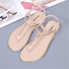 women's Flat Sandal T-strap Rhinestone Flip Flops  Sandals Comfortable Non-Slip Shoes  slippers golden 39