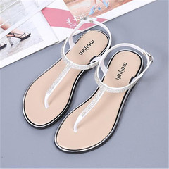 women's Flat Sandal T-strap Rhinestone Flip Flops  Sandals Comfortable Non-Slip Shoes  slippers silvery 39
