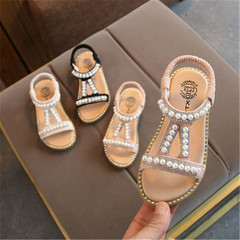 Summer New Girl Pearl Sandals Baby Princess Shoes Small and Middle Children Skid-proof Shoes pink 27