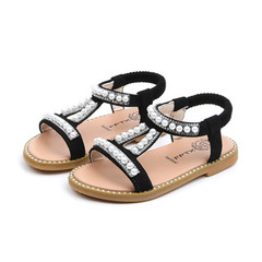 Summer New Girl Pearl Sandals Baby Princess Shoes Small and Middle Children Skid-proof Shoes black 22