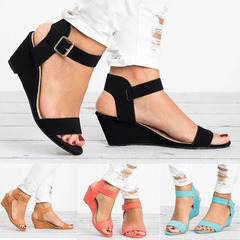 New women's High Heel Sandals Open Toe Shoes with Wedges Buckle Female Sandals slippers shoes black 36