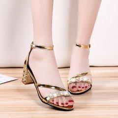 New Women's Open-toed Medium-heel Diamond Sandals Women's Roman Buckle Thick-heeled Shoes  slipper golden 36