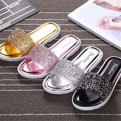 New slippers ladies fashion beach slippers casual sandals sequin flat sandals golden 36