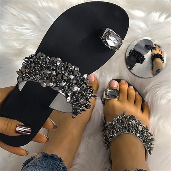 New women's toe sandals  flat sole foot clip water drill sandals  sequined sandals shoes slivery 36
