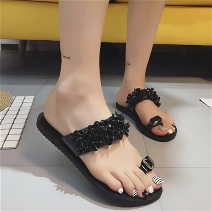 New women's toe sandals  flat sole foot clip water drill sandals  sequined sandals shoes black 36