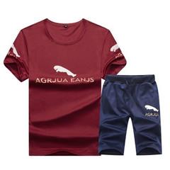 New Men's Casual Set Short Sleeve Printed T-Shirt and Shorts red XL T-shirts and pants