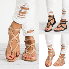 New Ladies Fashion Flat Bottom Lace sandals slippers shoes light brown 36